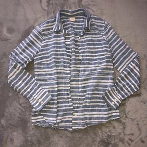 Button Down Striped Long Sleeve Top